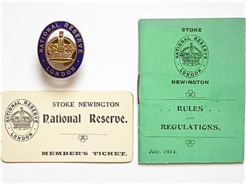 WW1 London National Reserve mufti badge, member's ticket & rulebook