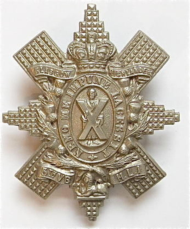 Scottish. 5th VB Highland Light Infantry Victorian glengarry badge cir