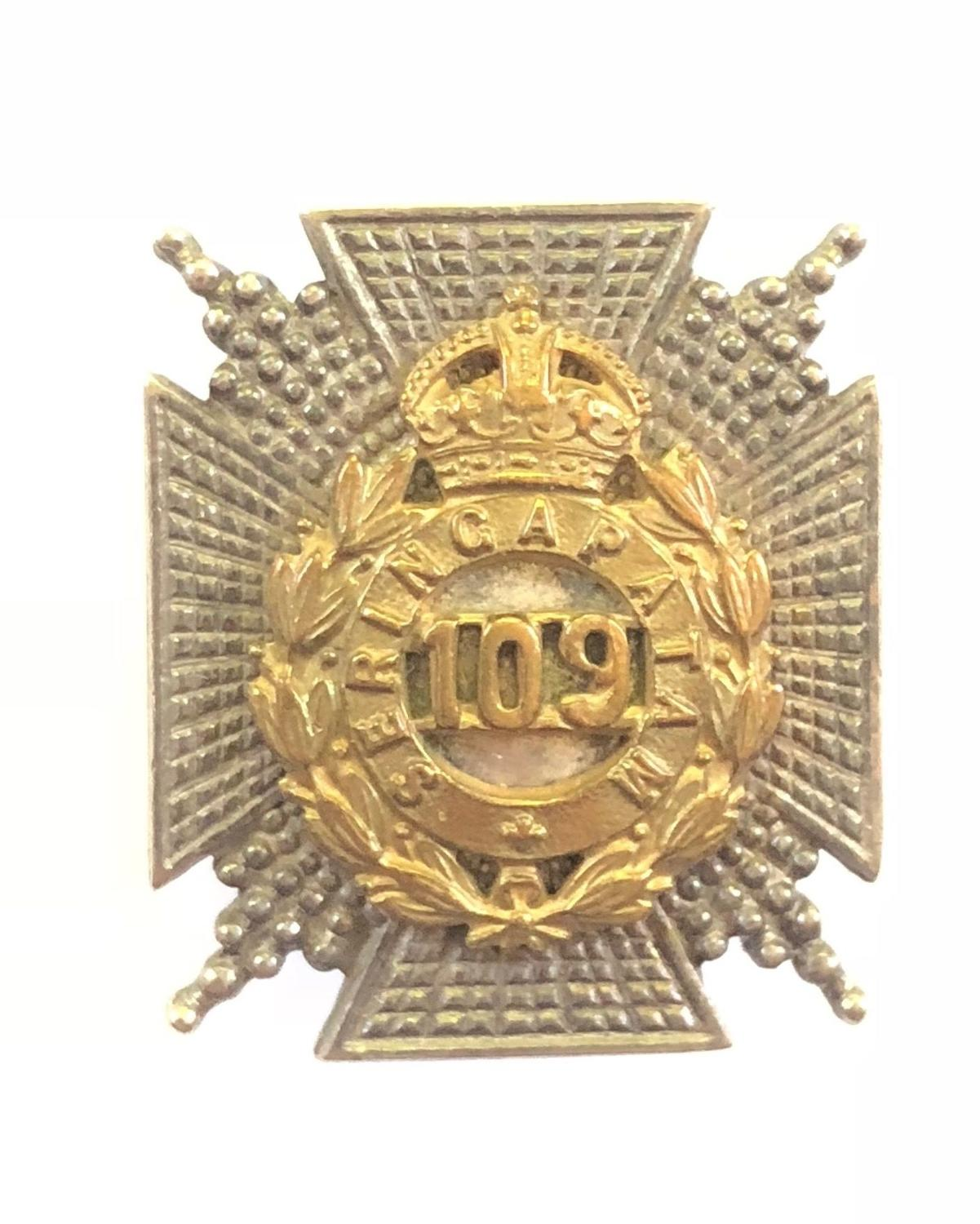 Indian Army. 109th Infantry Officer's FS cap badge / collar