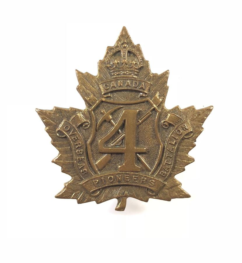 4th Pioneer Bn. WW1 CEF bronze brass cap badge