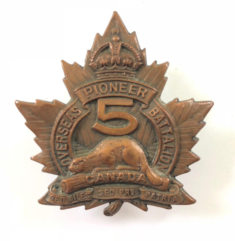 5th Pioneer Bn. WW1 CEF bronze cap badge