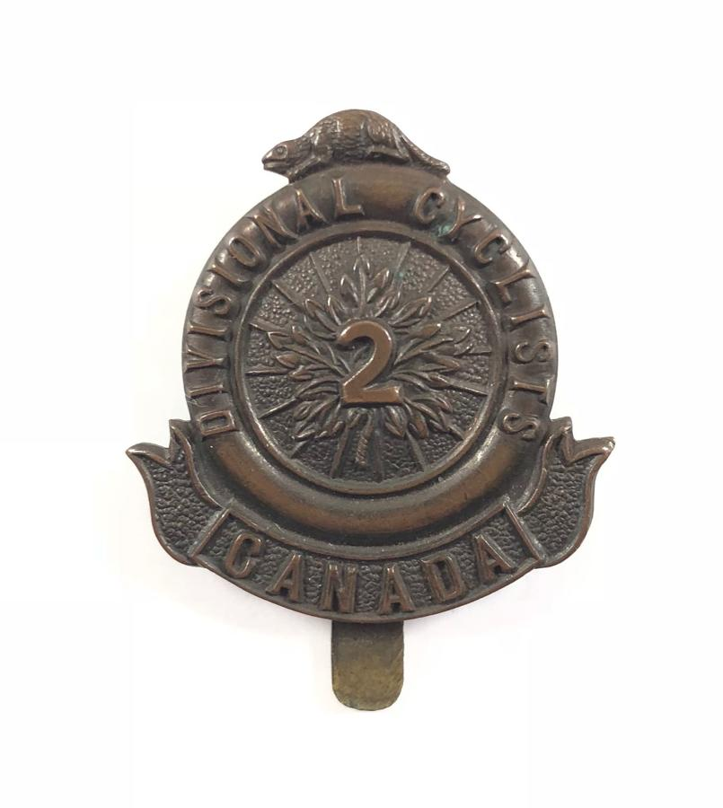 Canadian 2nd Divisional Cyclists WW1 bronze CEF cap badge