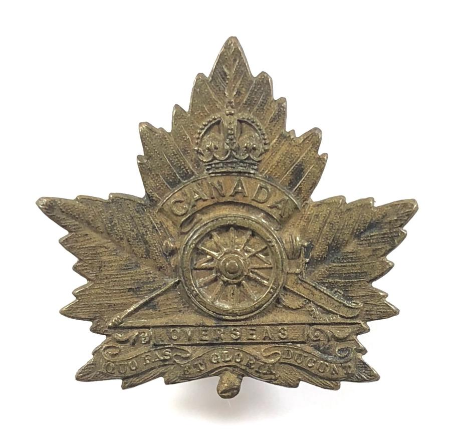 Canadian Royal Artillery WW1 bronze CEF Maple leaf cap badge