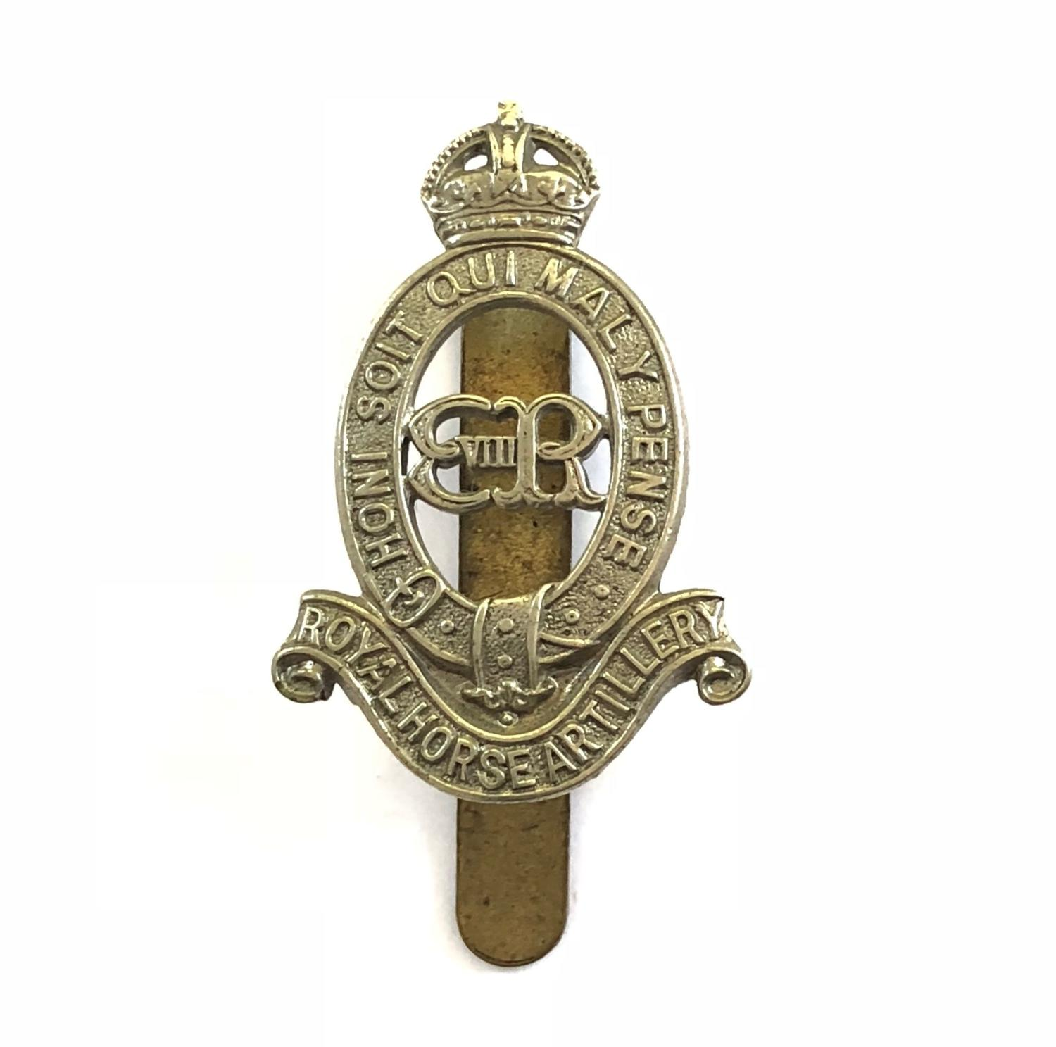 Royal Horse Artillery rare Edward VIII cap badge circa 1936