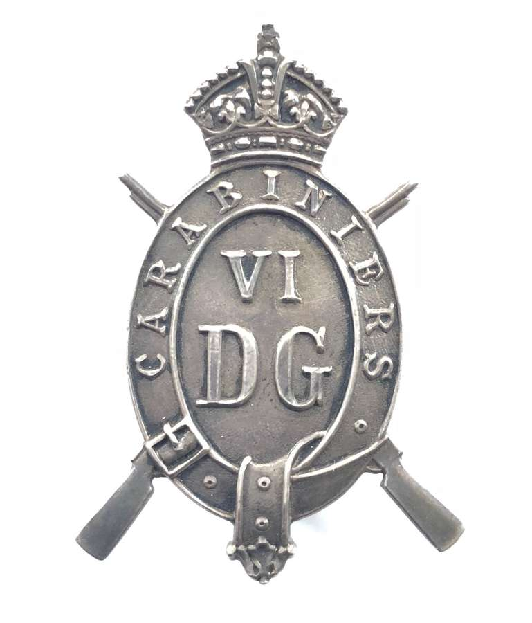 6th Dragoon Guards NCO's 1920 London hallmarked silver arm badge