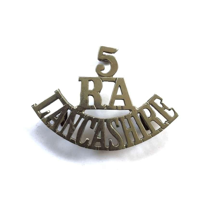 5 / RA / LANCASHIRE  pre 1908 Artillery Volunteers shoulder title