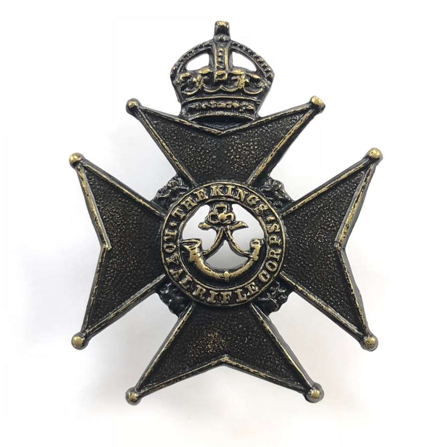 King's Royal Rifle Corps Militia Edwardian cap badge circa 1901-08