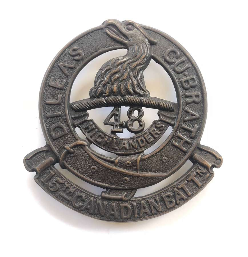 Canadian 15th (48th Toronto Highlanders) Bn. CEF WW1 glengarry badge