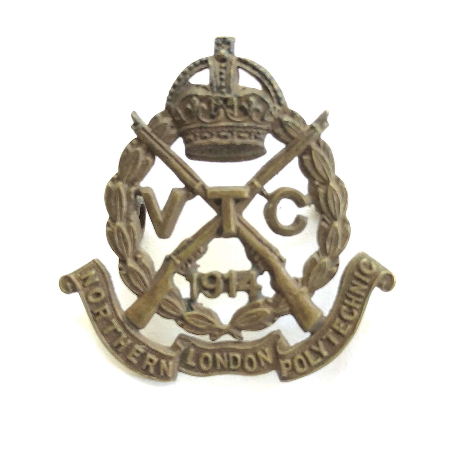 Northern London Polytechnic VTC rare 1914 bronze cap badge