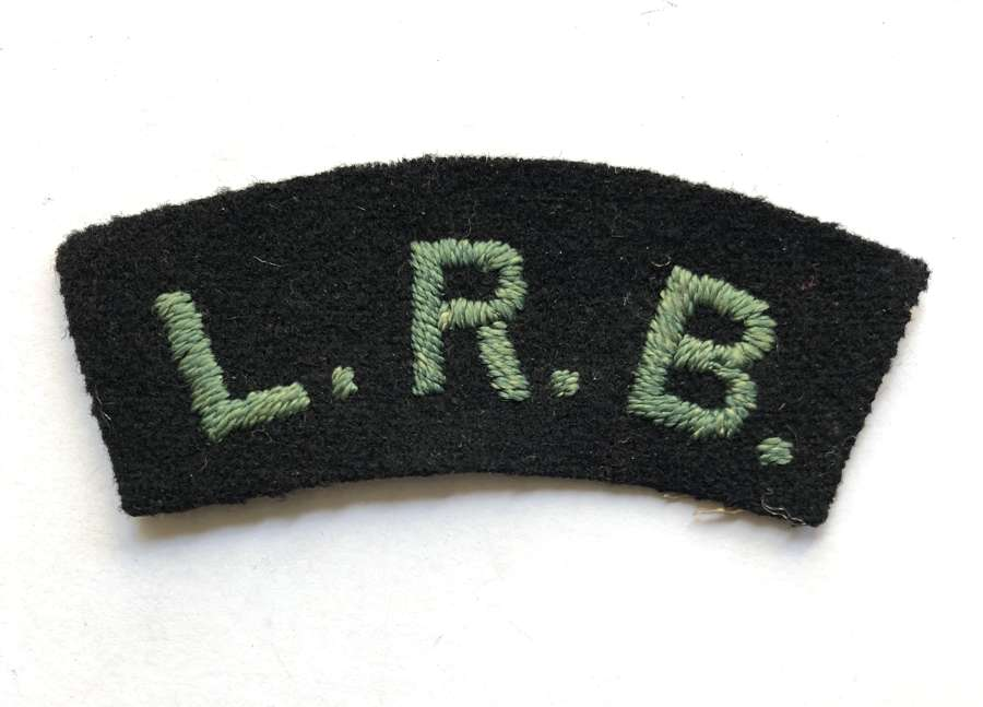 LRB WW1 London Rifle Brigade cloth shoulder title
