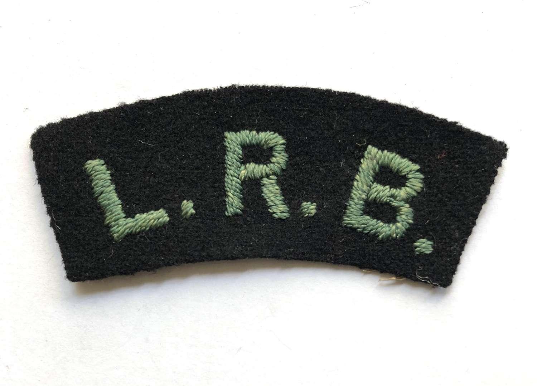 LRB WW1 London Rifle Brigade cloth shoulder title