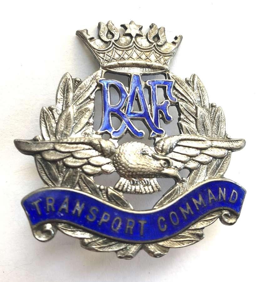 RAF Transport Command WW2 silver and enamel cap badge circa 1943-45