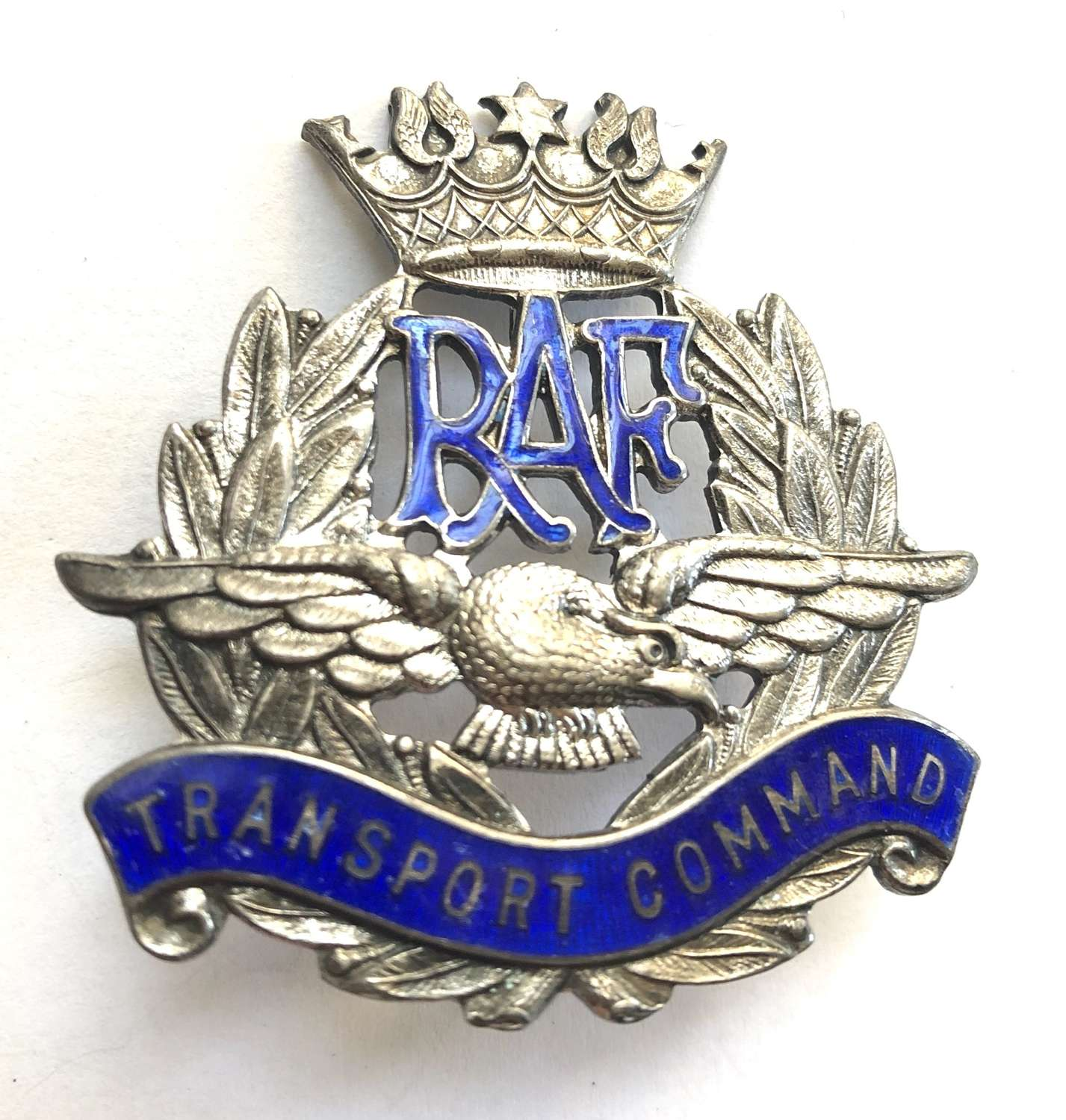 RAF Transport Command WW2 silver and enamel cap badge circa 1943-45