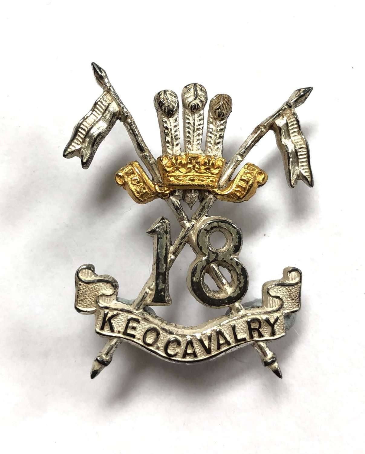 Indian Army. 18th King Edward's Own Cavalry Officer's silver badge