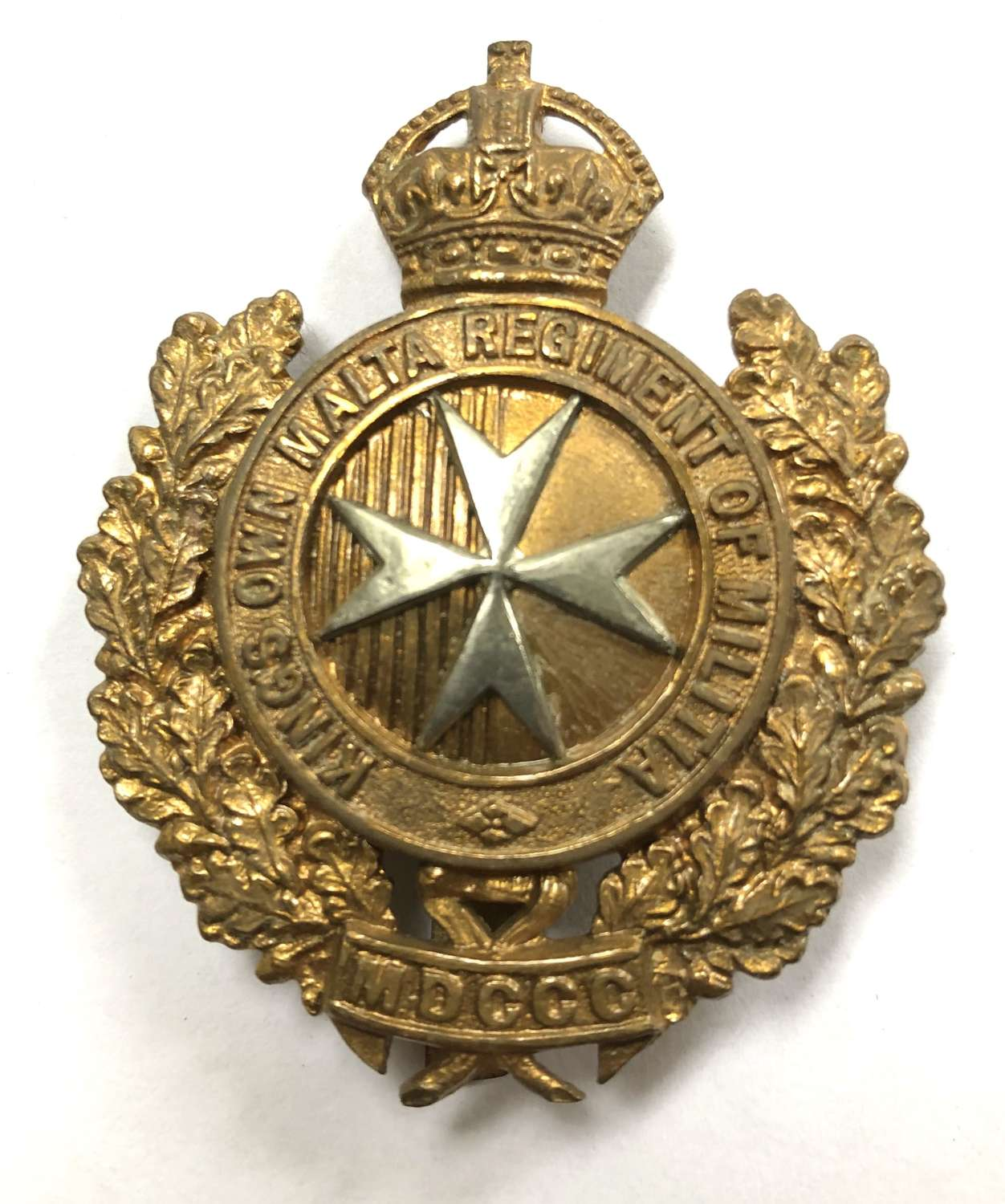 King's Own Malta Regiment of Militia cap badge circa 1903-21