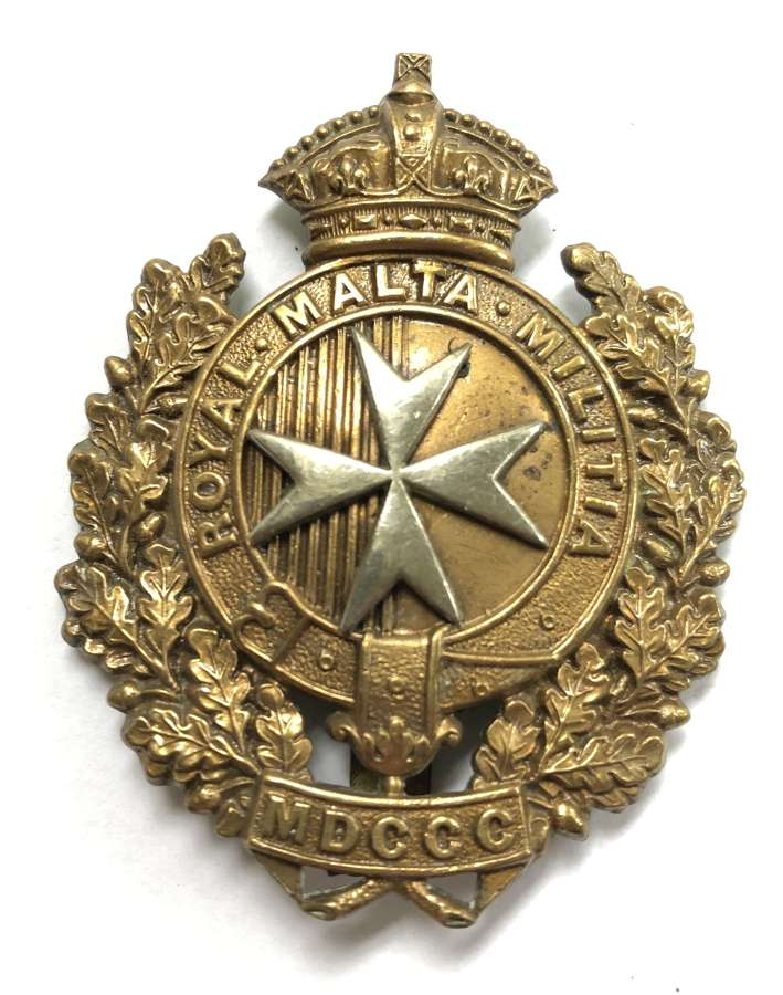 King's Own Malta Regiment of Militia cap badge circa 1889-1903