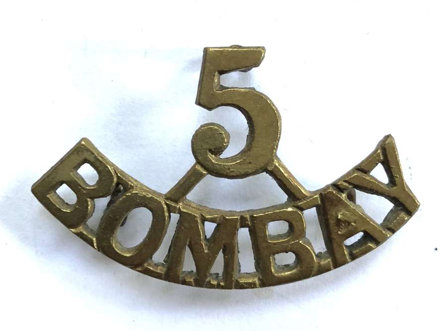 5 / BOMBAY scarce pre 1903 Indian Army brass shoulder title