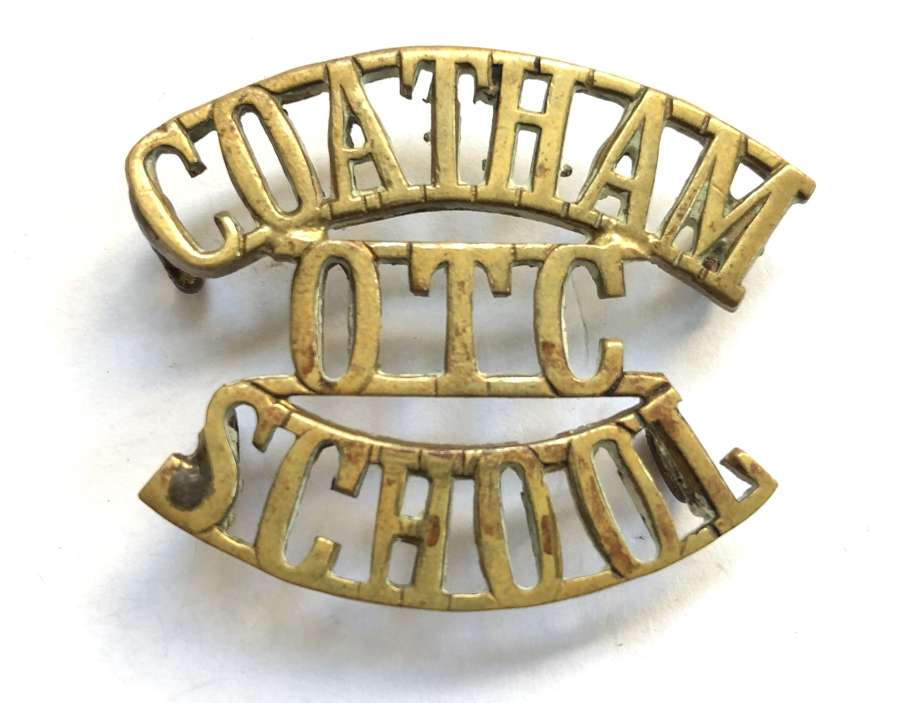 COATHAM / OTC / SCHOOL scarce Kent brass shoulder title