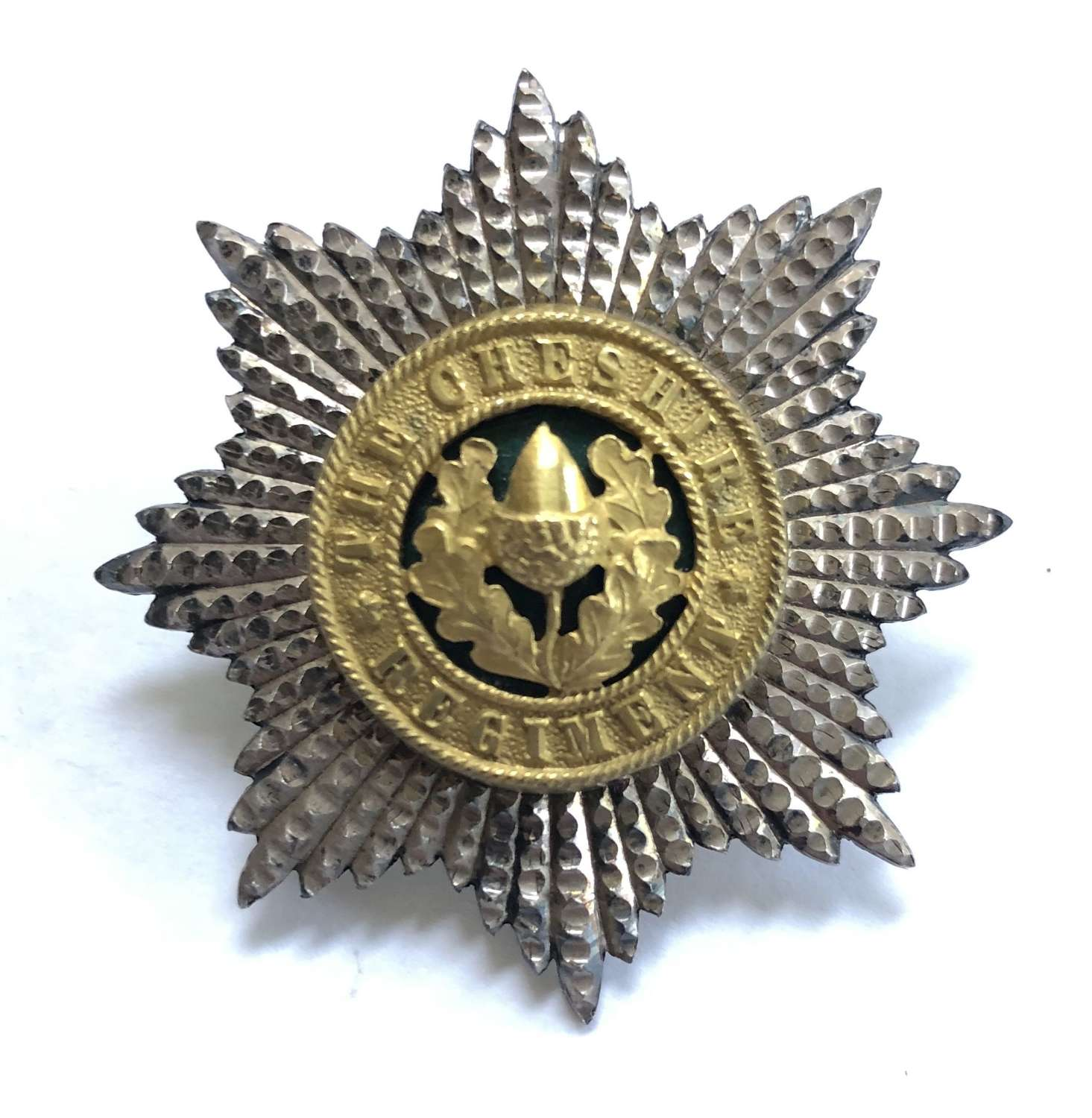 Cheshire Regiment Officer's silver and enamel cap badge