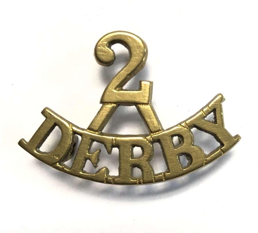 2 / DERBY brass 2nd Bn. Sherwood Foresters Boer War shoulder title
