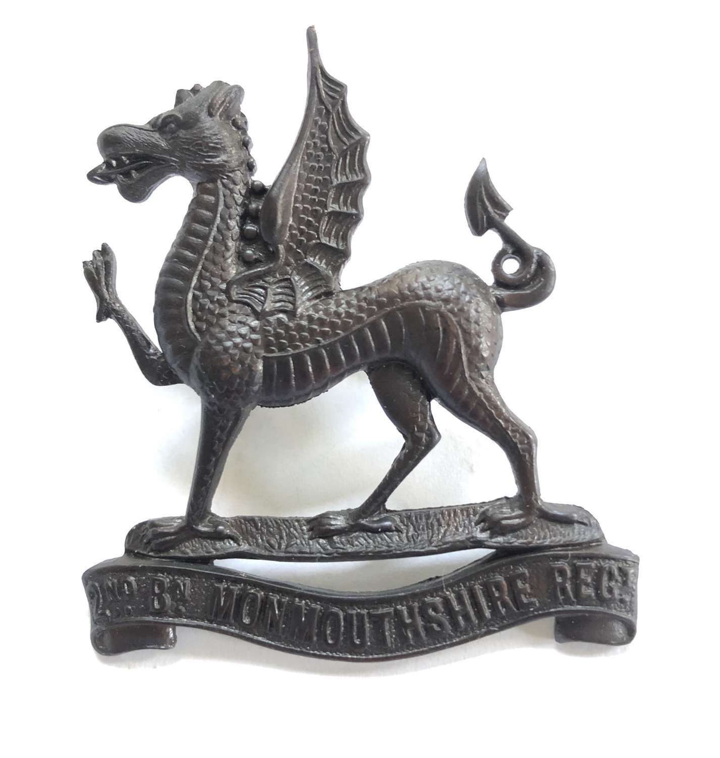 Welsh. 2nd Bn. Monmouthshire Regiment post 1908 OSD bronze cap badge