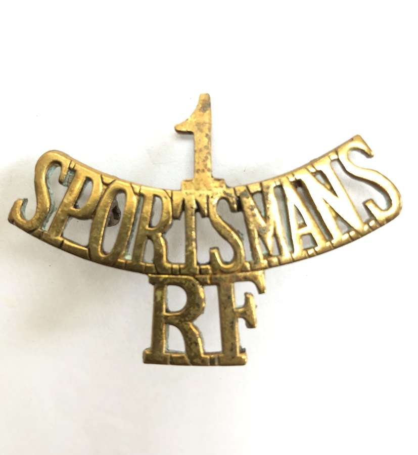 "1 / SPORTSMANS / RF WW1 ""Kitchener's Army"" brass shoulder title"
