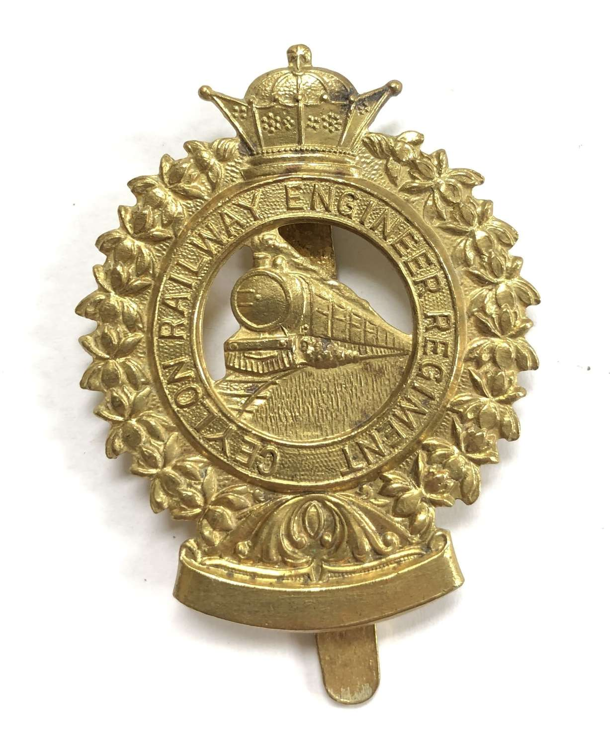 Ceylon Railway Engineer Regiment brass cap badge by Dowler, Birmingham