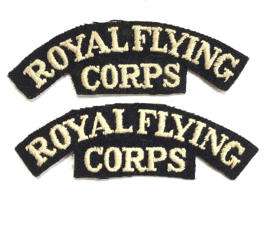 ROYAL FLYING CORPS matching pair of WW1 RFC cloth shoulder titles
