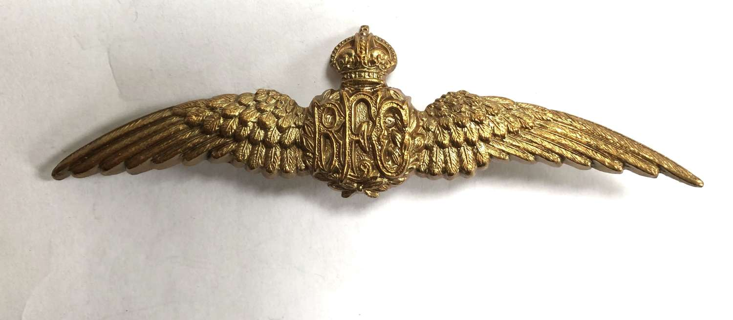 Royal Flying Corps NCO's RFC brass Pilot's wings circa 1912-15