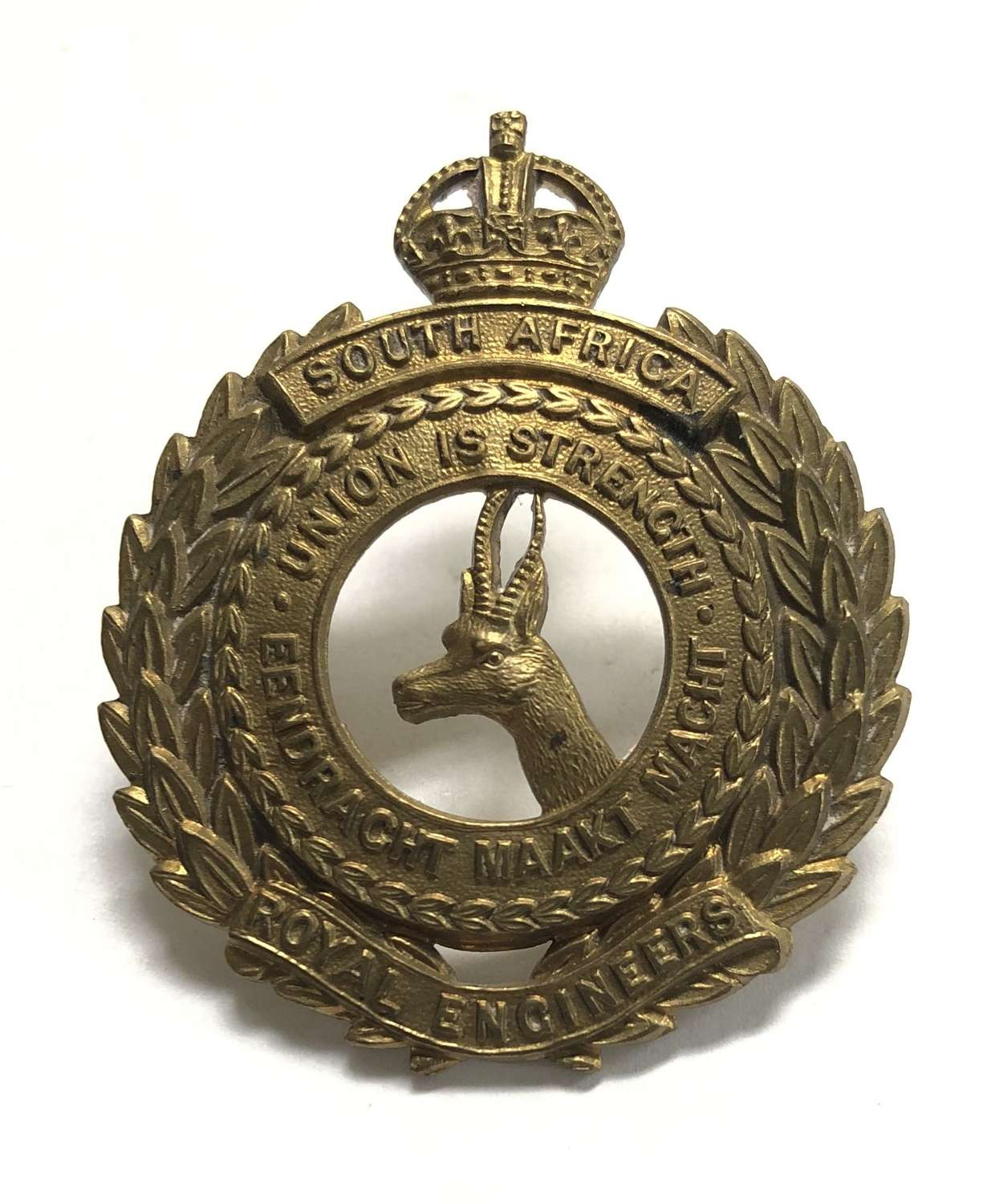 South African Royal Engineers brass cap badge circa 1916-18 by Gaunt
