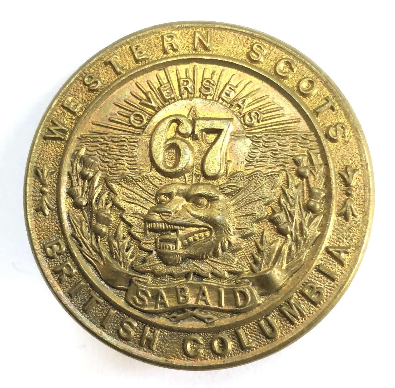 67th Bn (Western Scots) WWI CEF brass glengarry badge