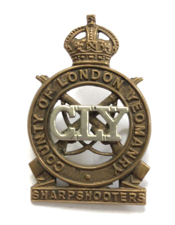 County of London Yeomanry Sharpshooters post 1940 cap badge