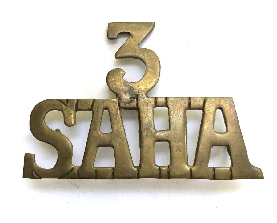 3/SAHA WWi South African Heavy Artillery sheet brass title