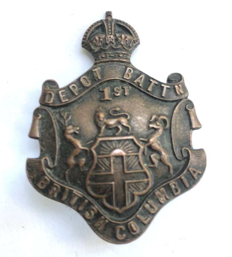 Canadian 1st British Columbia Depot Bn. CEF cap badge by Allan