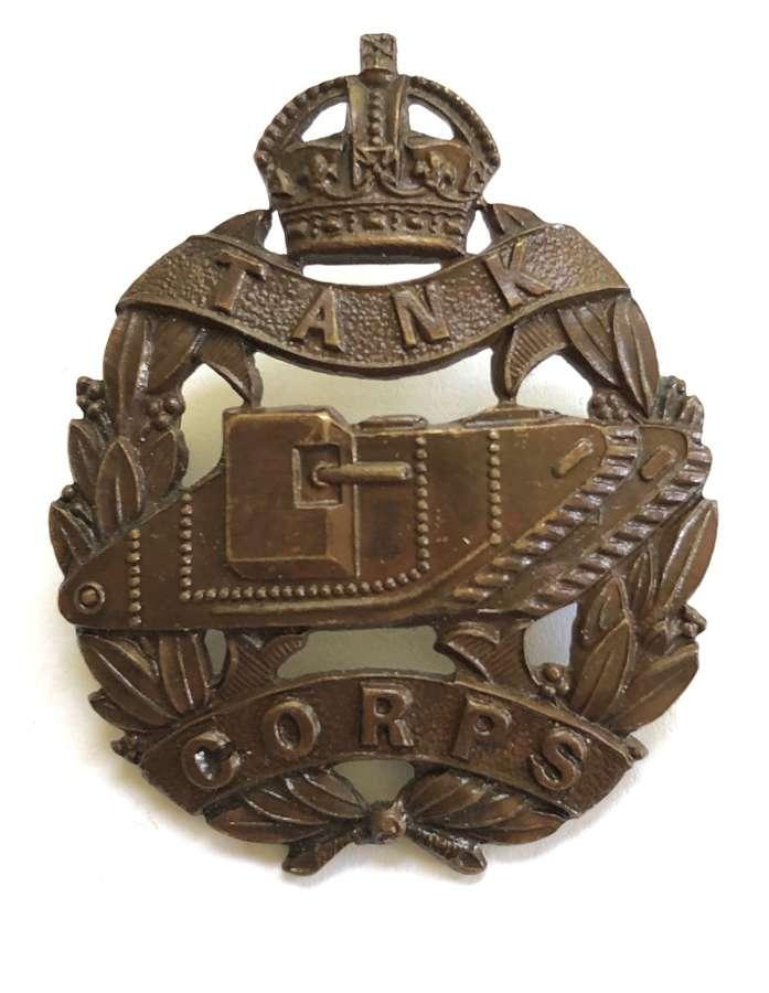 WW1 Tank Corps Officer's OSD bronze cap badge