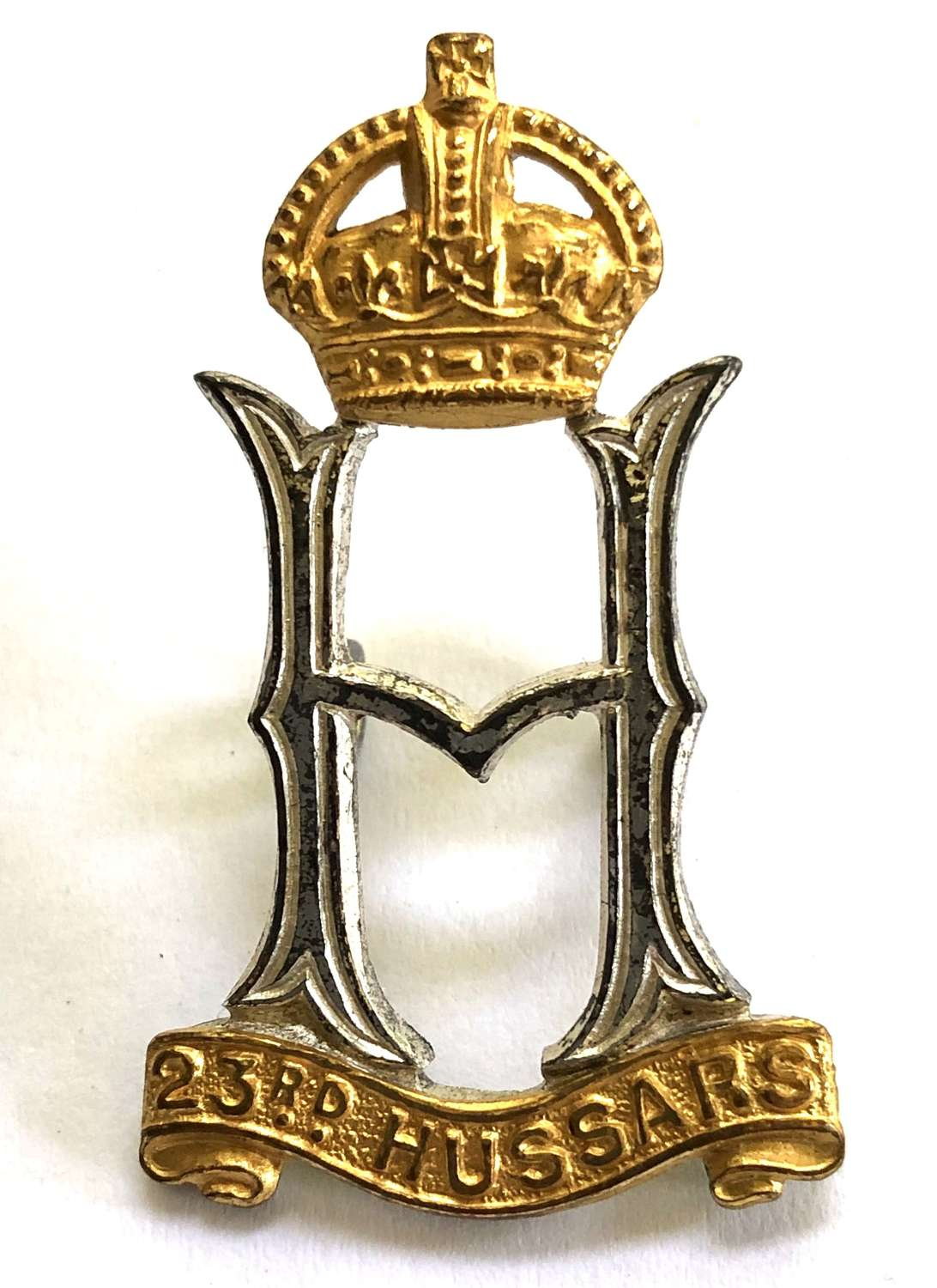 23rd Hussars war raised Officer's cap badge circa 1940-46.
