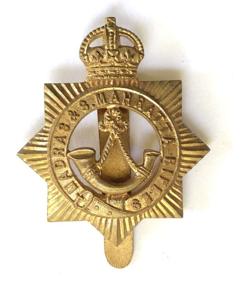 Indian Army. Madras & S. Mahratta Rifles OR's brass cap badge