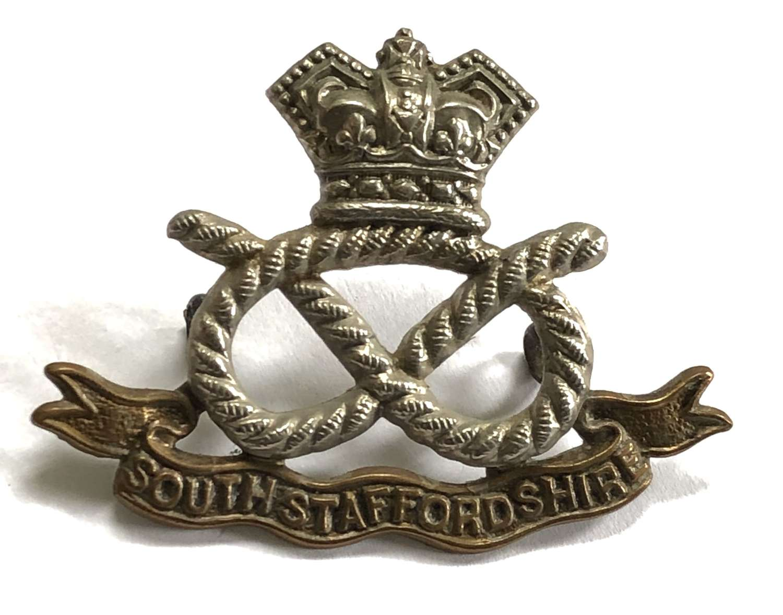South Staffordshire Regiment Victorian bi-metal cap badge c1896-1901
