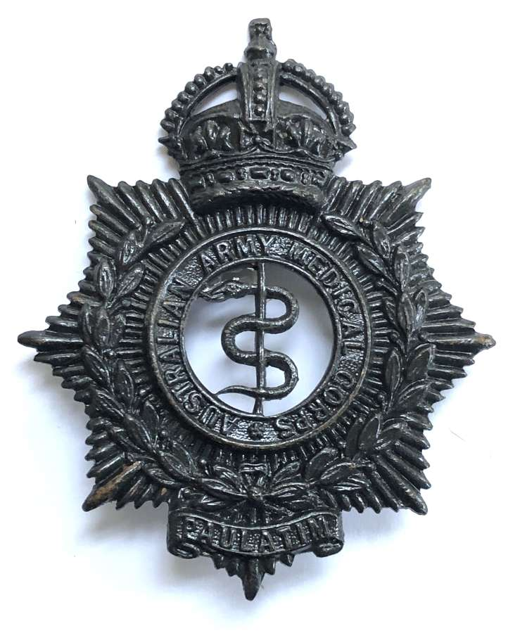 Australian Army Medical Corps blackened brass slouch hat badge
