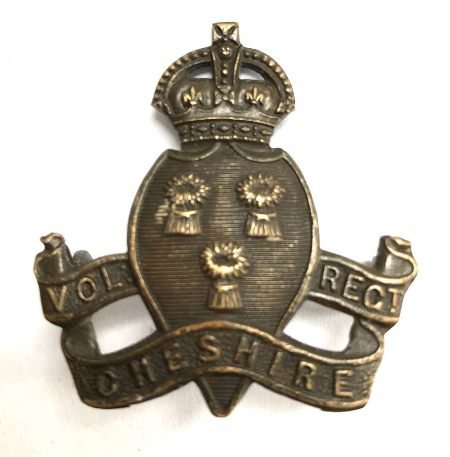 Cheshire Volunteer Regiment WW1 VTC Officer's cap badge