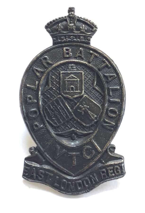 Poplar Battalion, East London Regiment VTC scarce WW1 cap badge