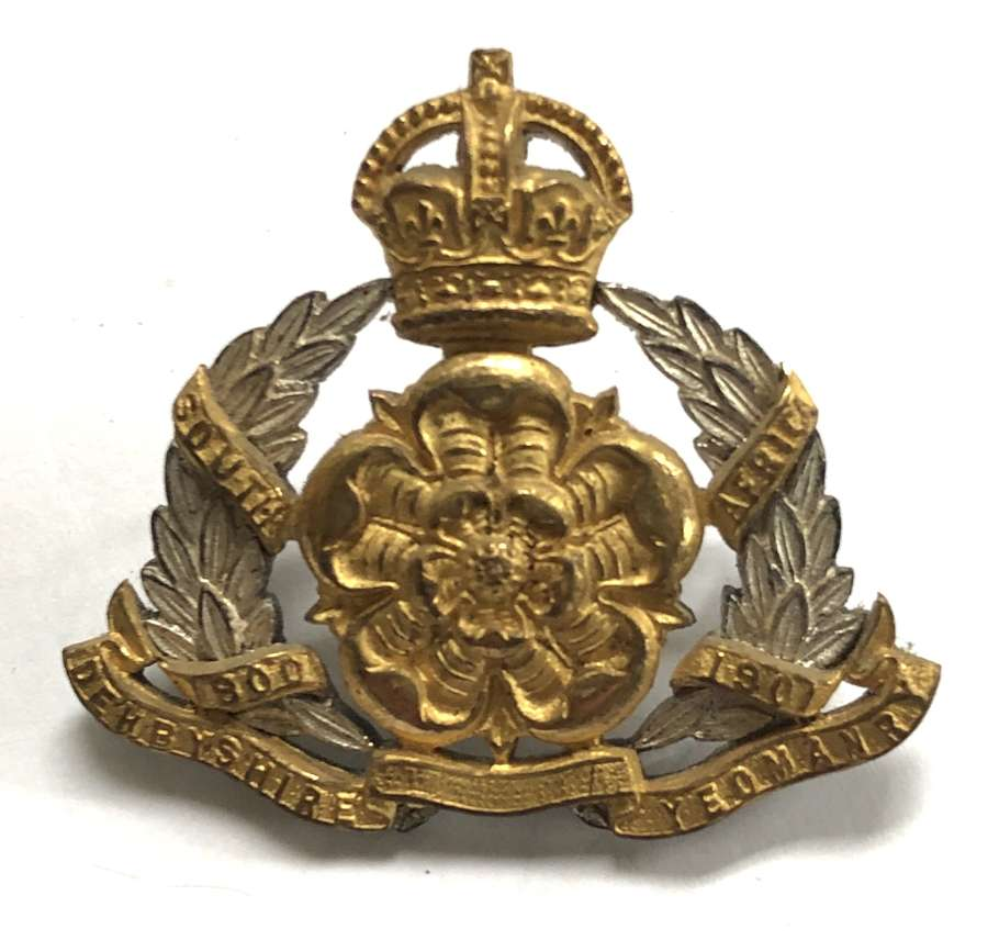 Derbyshire Yeomanry pre 1953 Officer's cap badge by Gaunt