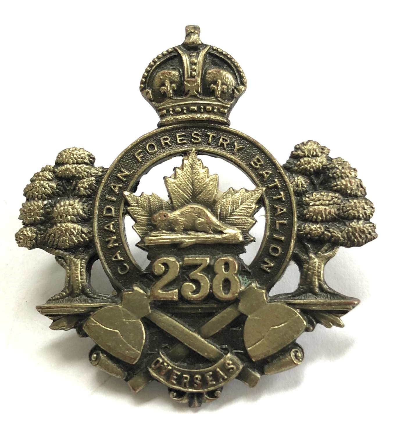 Canadian. 238th CEF (Forestry Bn.) WWI bronze cap badge
