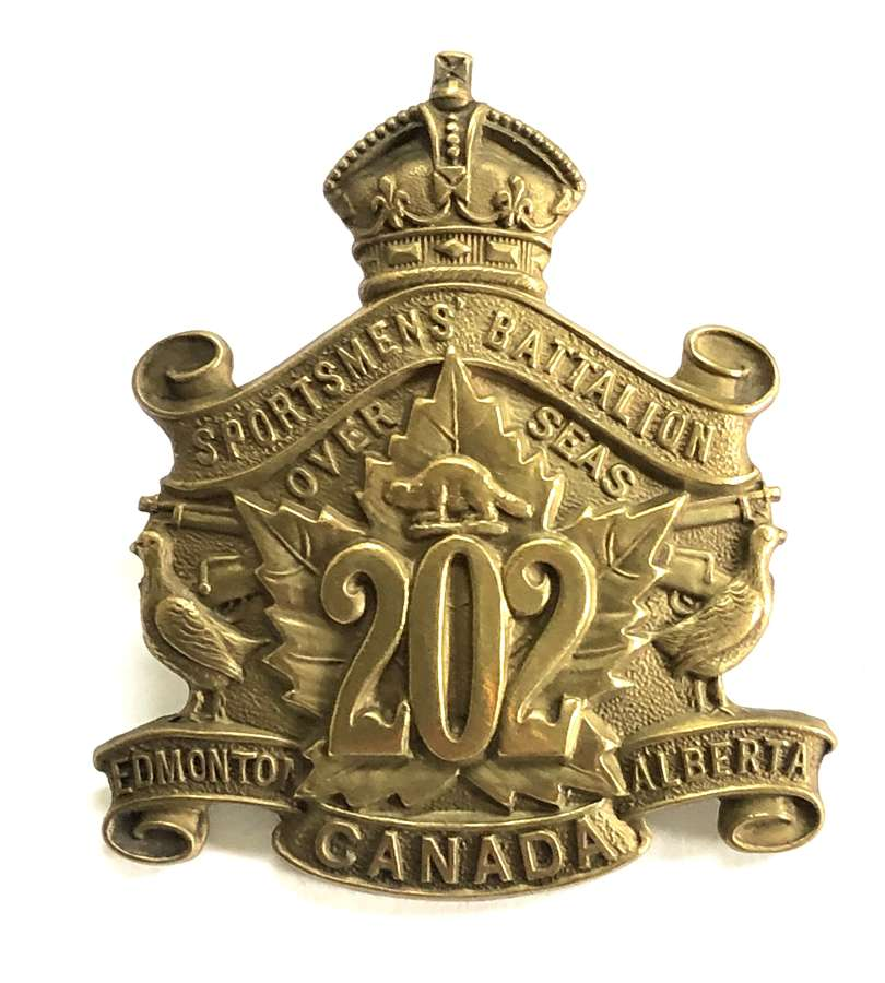 Canadian 202nd (Sportsmens) Bn. WW1 CEF cap badge by Jackson Bros