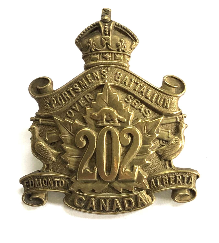 Canadian 202nd (Sportsmens) Bn. WW1 CEF cap badge by Jackson Bros