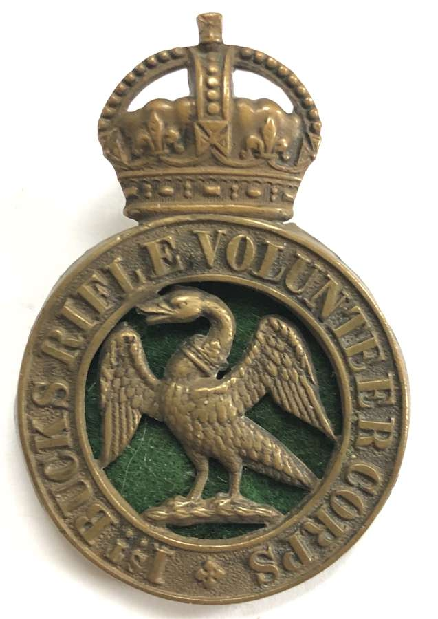1st Bucks Rifle Volunteer Corps slouch hat badge circa 1902-08