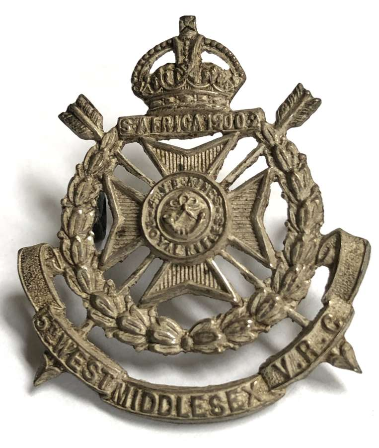 4th VB KRRC (5th W. Middx VRC) Edwardian field service cap badge