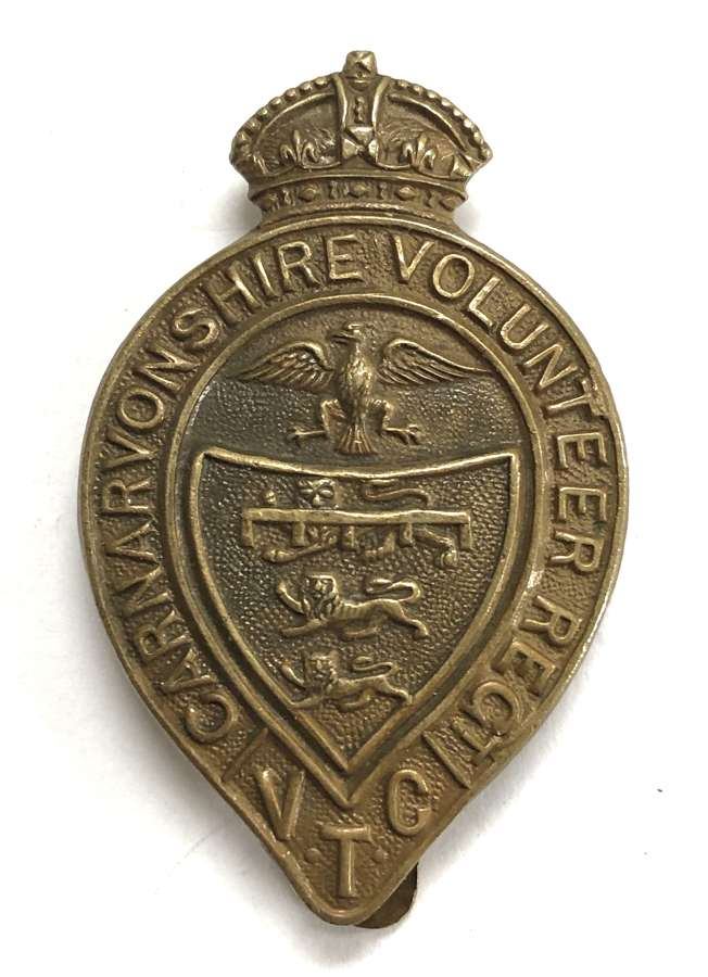 Welsh. Carnarvonshire Volunteer Regt WWI VTC cap badge by Fattorini