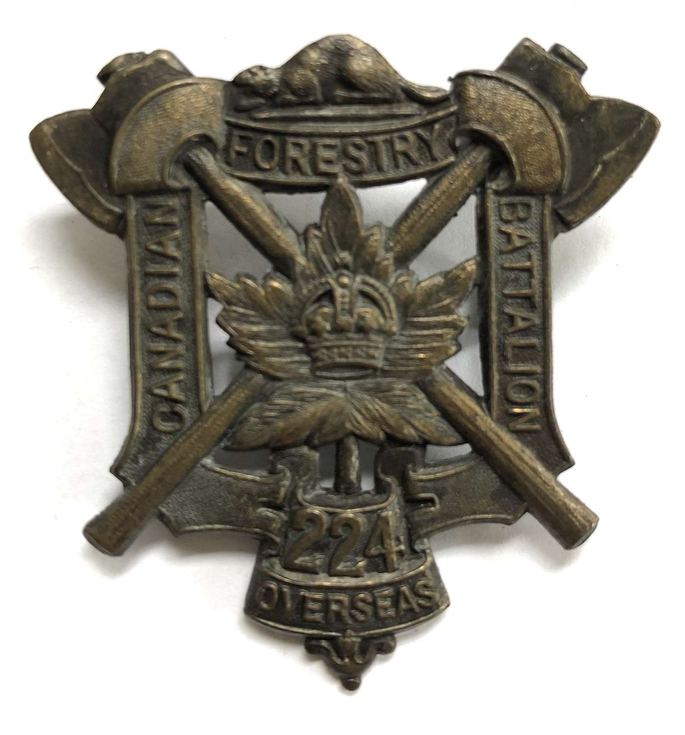 Canadian 224th (Forestry, Ottawa) Bn. CEF WW1 cap badge