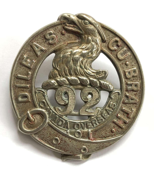 Canadian 92nd (48th Toronto Highlanders) Bn. CEF WW1 glengarry badge